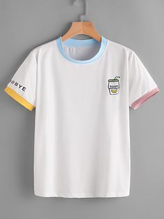 Shop Graphic Print Ringer Tee online Australia,SHEIN offers huge selection of T-Shirts more to fit your fashionable needs. Romwe, Printed Tees, Shirt Designs, T Shirt, Cute Outfits, Fashion Outfits, Fashion Styles, Fashion Fashion, Fashion Ideas