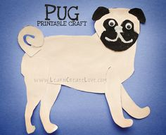 Pug dog craft to use with Puddle Pug book for storytime - hero pug saves piglet. Also use Zorro Gets An Outfit book -kids can add cape to the craft. Dog Crafts, Preschool Activities, Book Activities, Pugs For Adoption, Dog School, Carlin, Pugs And Kisses, Pug Art, Author Studies