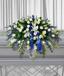 Image result for white and blue casket flowers