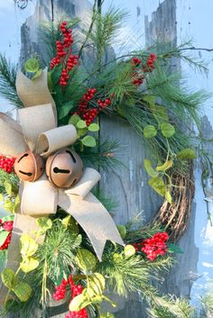 Sweet Something Designs: Christmas Wreaths and Whining Country Christmas, All Things Christmas, Winter Christmas, Christmas Holidays, Christmas Bells, Outdoor Christmas, Merry Christmas, Xmas, Holiday Wreaths