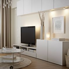 salon blanc meuble tv