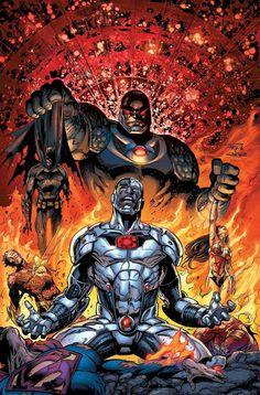 Justice League By Paul Pelletier Cyborg Dc Comics, Marvel Dc Comics, Comics Anime, Hq Marvel, Dc Comics Art, Comic Book Covers, Comic Books Art, Wonder Woman, Superman