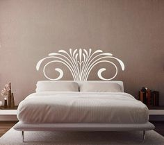 headboard wall decal |  /classic-headboard-wall-decal-really-high #headboardwalldecal #whitewalldecor #bed