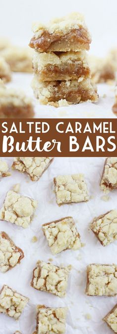 Salted Caramel Butter Bars -- I first baked these salted caramel butter bars nearly three years ago and they have become one of the most requested recipes by friends in family. | halfscratched.com #recipe #dessert