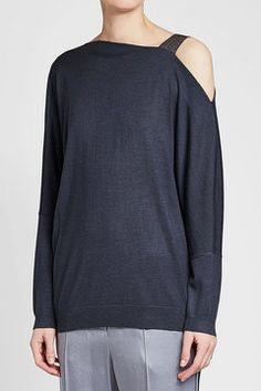 BRUNELLO CUCINELLI -  Embellished One Shoulder Pullover in Cashmere and Silk | STYLEBOP Blue Fashion, Cashmere, One Shoulder, Blue Style, Pullover, Silk, Brunello Cucinelli, Shopping, Clothes