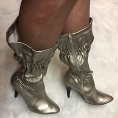 SZ 11 Cupid boots/heels pewter/silver? These are brand-new and come with original box! Retail box price was $52 you get a deal! If you need measurements of the heel height or length heel to toe just comment and I will reply! Qupid Shoes Heeled Boots