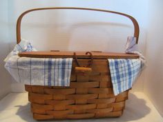 LONGABERGER HANDWOVEN BASKET - Small Picnic Basket with Plastic Insert and Blue and White Checked Cloth by CellarDeals on Etsy