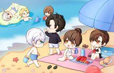 chibi at the beach Mystic Messenger Yoosung, Saeran, Kawaii, Mobile Legends, Me Me Me Anime, Chibi, Fantasy Art, Pokemon, Drawings