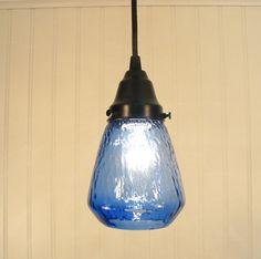 Blue Hill Transparent Blue PENDANT Light by LampGoods on Etsy. $49.00 USD, via Etsy.