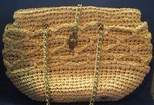 Beige Raffia Purse Chain Handles