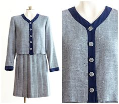 Blue tweed skirt suit with pleated skirt and box jacket by TimeTravelFashions on Etsy