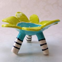 funky turquoise ceramic jewelry dish by maryjudy on Etsy, $25.00