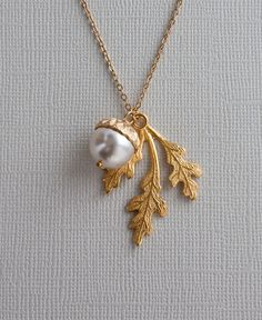 Would love this in sterling silver as a tribute to my dad. Gold  Oak Leaf  Necklace with Acorn - Perfect for Birthday , Anniversary, Best friend Gift. $24.50, via Etsy.