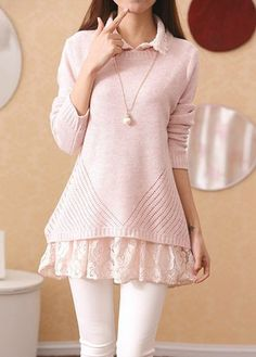 Turndown Collar Lace Blouse and Bowknot Pink Sweater on sale only US$36.47 now, buy cheap Turndown Collar Lace Blouse and Bowknot Pink Sweater at lulugal.com