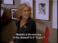 Carrie Bradshaw got drunk at Vogue. Which is awesome.