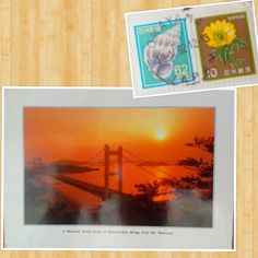 A beautiful sunset scene of Simotsui-Seto Bridge from Mt. Washuza, Japan (1992)