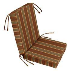 Cushion Source 22 In Striped Sunbrella Chair Seat And Back Cushion