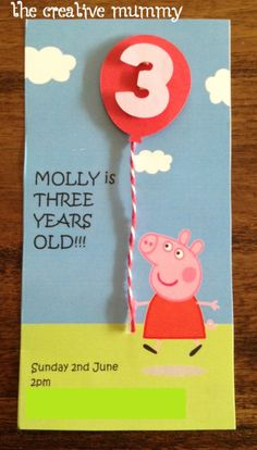 Peppa Pig Birthday Invitations Fresh Molly's Peppa Pig Party Invitacion Peppa Pig, Cumple Peppa Pig, Third Birthday, 3rd Birthday Parties, Birthday Ideas, Peppa Pig Party Supplies, Peppa Pig Birthday Invitations, Party Favor Bags, Party Time