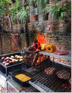 Barbecue Design 2020 – Can you use normal bricks for a BBQ - Home Ideas Bbq Kitchen, Summer Kitchen, Outdoor Kitchen Design, Barbecue Design, Barbecue Grill, Patio Grill, Backyard Bbq, Parilla Grill, Asado Grill