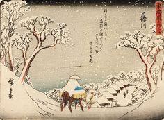 Scène de neige, série des 53 stations du Tôkaidô, 38e station, 1840, éditeur Sanoki, 15,5 x 20,8 cm. Vendu avec une vue de la la 27e station.