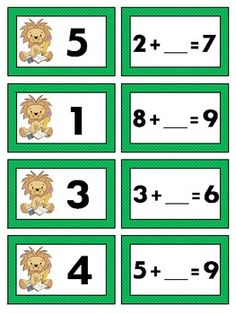 Missing Addend Math Station Game - kids match missing addends to equations with missing numbers then record