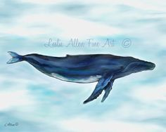 Whale Painting Print Whale Art Whale Print by LeslieAllenFineArt