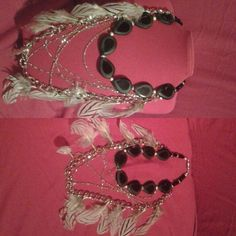 Bernadette creation; Black Onyx & feathers