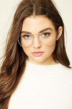 714e9c6081b059 Clear Aviator Readers Glasses, Forever 21 Price   5.90 Lunettes Aviateur,  Fausses Lunettes,