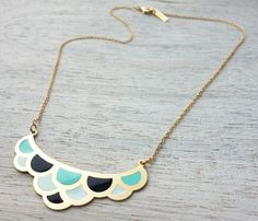 Colorful Waves Necklace, enamel pendant jewelry, waves, ocean theme