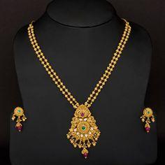 Traditional long two layer Gundla haram design - Latest Jewellery Designs