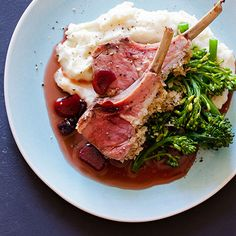 An amazing dinner recipe for Roasted Rack of Lamb & Rhubarb Sour Cherry Gastrique. The perfect date night dinner.