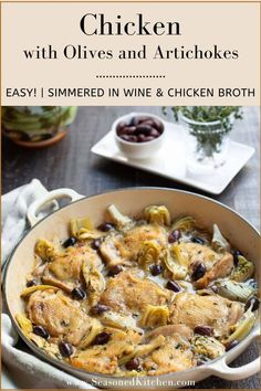 Braised Chicken with Olives and Artichokes is gluten free and super easy to prepare. Browned chicken, brine-y Kalamata olives and sweet artichoke hearts are simmered in wine and chicken stock flavored with onion, garlic, and thyme. #easychickenrecipes #braisedchickenrecipes #stovetopchickenrecipes #seasonedkitchen White Wine Chicken, Chicken With Olives, Night Dinner Recipes, Dinner Ideas, Potluck Recipes, Braised Chicken, Chicken Brine, Brine Recipe, Boneless Chicken Thighs