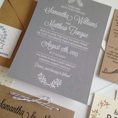 Understated and elegant wedding invitations with a soft palette of grey, white and recycled brown kraft card.Evening invitations are also available in this design, just order the total amount you need, and let us know via your order enquiry how you would like it to be divided between day and evening versions. Ordering process: We will contact you within 24 hours of ordering via your 'order enquiry' to collect your details for personalisation and any other customisation you require. Please…
