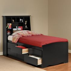 Prepac Furniture Captain's Platform Storage Bed with Slant-Back Bookcase…