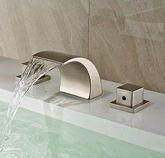 3 Holes Waterfall Bathroom Basin Faucet Double Handles Mixer Tap Brushed  Nickel #Rozinsanitary