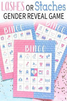Shop gender reveal party supplies for your baby shower. Find gender reveal themes and ideas including cute gender reveal games. Gender Reveal Announcement, Gender Reveal Party Games, Pregnancy Gender Reveal, Gender Reveal Party Supplies, Gender Reveal Party Decorations, Gender Party, Baby Shower Gender Reveal, Bingo Party, Shower Games