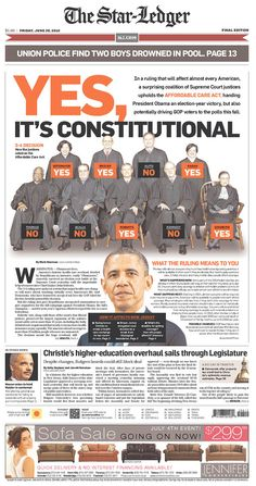 Eye goes from primary headline to secondary to infographics to Obama to stories.