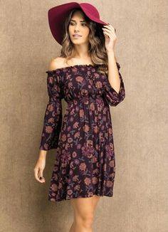 3c8b9ce97003 Vestido Decote Ciganinha Floral - Posthaus Vestido Étnico, Decote, Vestido  Curto, Vestido De