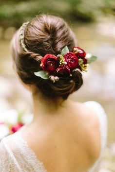 Flower crown updo on Mountainside Bride Floral Wedding Hair, Wedding Hair Flowers, Floral Hair, Flowers In Hair, Flower Headpiece Wedding, Winter Wedding Hair, Wedding Headpieces, Burgundy Wedding, Trendy Wedding