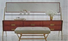 The 1960s vanity by Italian designer Silvio Cavatorta in Alexis Stewart's room was a lucky score from 1stdibs, which she paired with a vintage bench