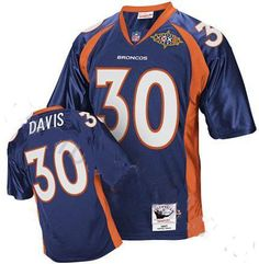 Terrell Davis Jersey, Super Bowl Mitchell and Ness #30 Denver Broncos Authentic NFL Jersey in Blue  ID:974  Price:$20