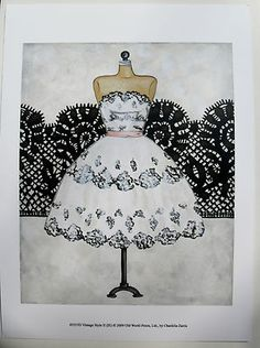 $15.50 Vintage Dress Art Print, by Chariklia Zarris, Vintage Style II