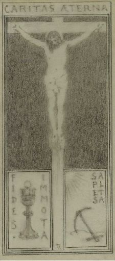 Artwork by Fernand Khnopff, Caritas Aeterna, Made of pencil