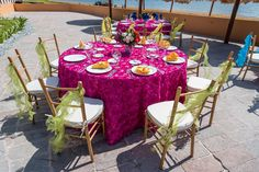 Stunning arrays of bright colors all come together to create a beautiful reception #NowSapphireRivieraCancun #Mexico #DestinationWedding