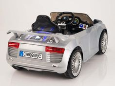 This fabulous Audi R8 style twin motor and two speed ride on car is a real head turner, and now has rubber foam wheels. The R8 inspired Autobahn Motors 12 volt