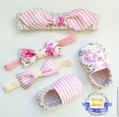 Купить Двусторонние моксы и бантики для девочки. - бледно-розовый, в полоску, пинетки для новорожденных, пинетки