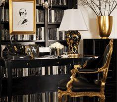 Black, white and gold interior home office Decoration Inspiration, Interior Design Inspiration, Decor Ideas, Elegant Living Room, Gold Interior, Luxury Interior, Black White Gold, Decorating With Pictures, Interiores Design