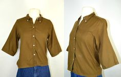 1960s Brown 3 Quarter Sleeve Every Day Wear by KrisVintageClothing