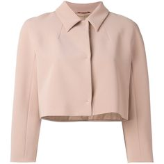Max Mara Studio cropped boxy jacket ($365) ❤ liked on Polyvore featuring outerwear, jackets, nude, cropped jacket, maxmara, box jackets, pink cropped jacket and pink jacket