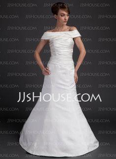 Wedding Dresses - $128.99 - A-Line/Princess Off-the-Shoulder Floor-Length Satin Wedding Dress With Ruffle (002012569) http://jjshouse.com/A-Line-Princess-Off-The-Shoulder-Floor-Length-Satin-Wedding-Dress-With-Ruffle-002012569-g12569